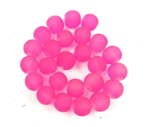25 Frosted Sea Glass Round Deep Pink 10mm Rocaille Beads Matte