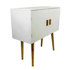 White Cupboard Storage Cabinet Bedside Table MDF Bamboo Shelves Furniture Doors