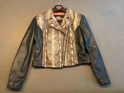 womens harley davidson leather / snakeskin jacket