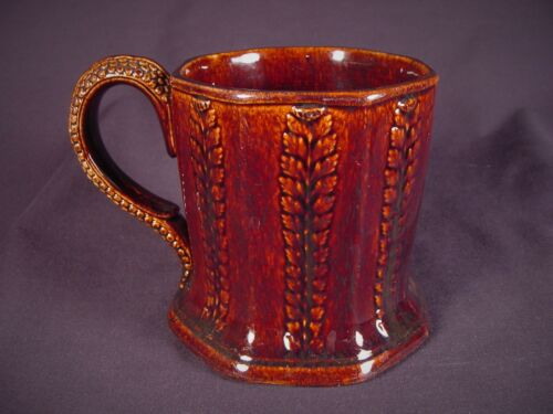 RARE LARGE ANTIQUE 1800s MUG 8 SIDED FERN PATTERN ROCKINGHAM YELLOW WARE MINT