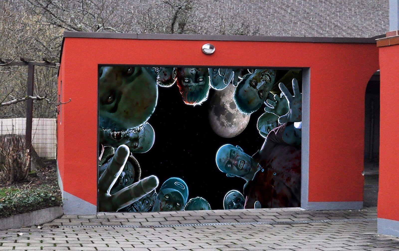 3D Zombie Moon 84 Garage Door Murals Wall Print Decal Wall AJ WALLPAPER UK Carly