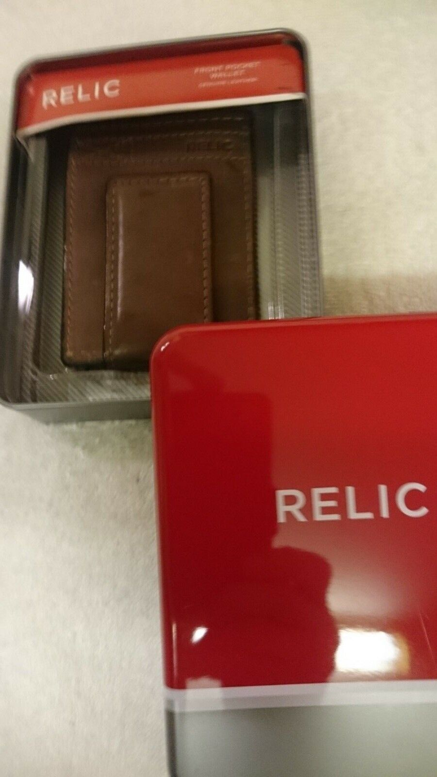 Credit Cards Holder with Magnetic Flap,RELIC,Brown,Genuine Leather