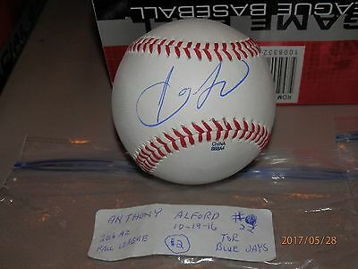 Balls Learned Anthony Alford Blue Jays Fall League Autographed Baseball # 2