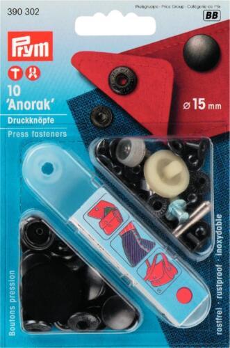 15 mm nero con 390302 utensili PRYM BOTTONI A PRESSIONE ANORAK 10st