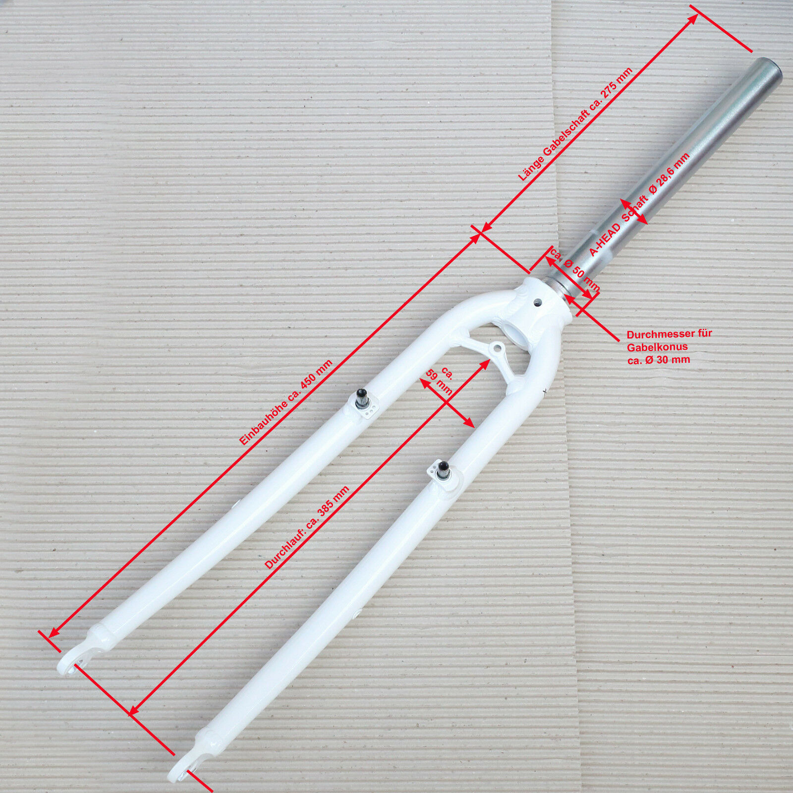 28  Gabel XLC BF-A02 A-Head 1 1 8  WeißS mit Öse für Lowrider Kabelführung