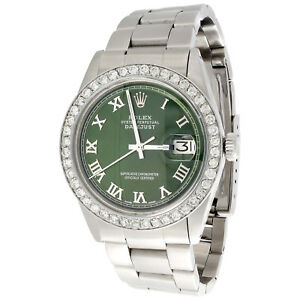 Mens Rolex 36mm DateJust Diamond Watch Oyster Steel Band Green Roman Dial 1.9 CT