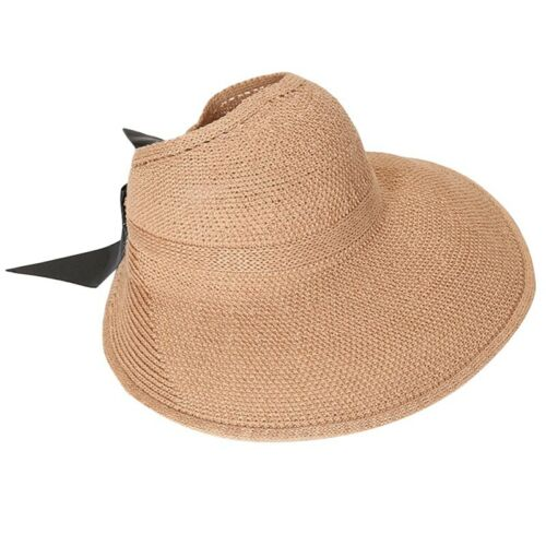 Summer Sun Hat Visor Straw Cap Beach Foldable Women Lady Wide Bow Hat Useful New