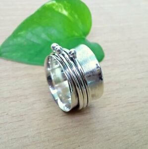 Solid-925-Sterling-Silver-Spinner-Ring-Meditation-Ring-Statement-Ring-Size-st841