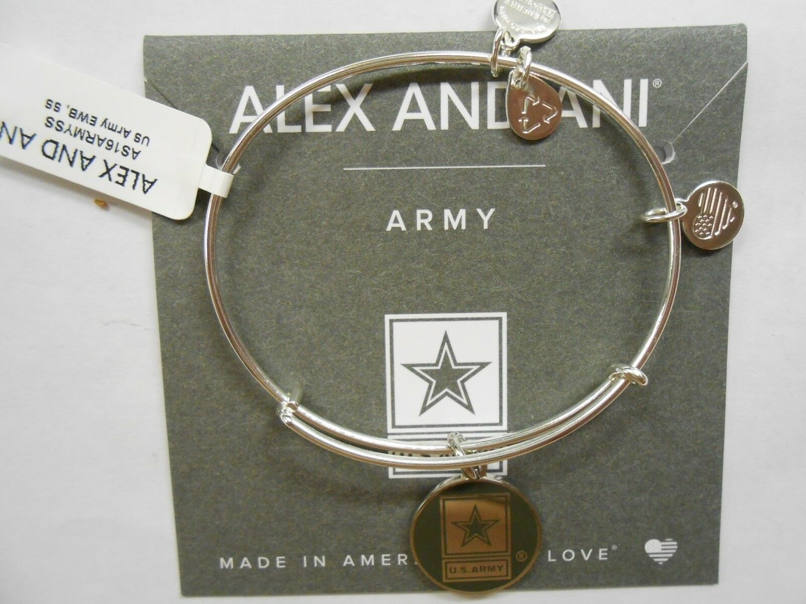 Alex and Ani US ARMY Expandable Wire Bracelet Yellow Gold NWTBC