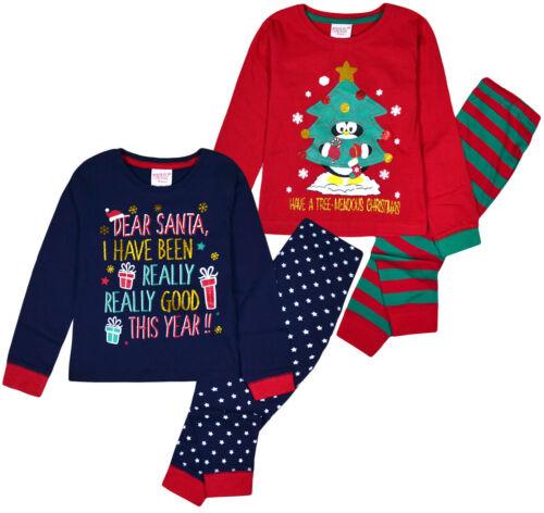 Les filles de Noël Pyjama Set Noël Pyjama Rouge Marine PJ 2 CFP Ages 2 3 4 5 6 ans