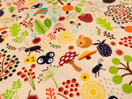 Stoff Baumwolle Jersey Waldtiere Hasen Pilze Erdberren apriko bunt Kinderstoff
