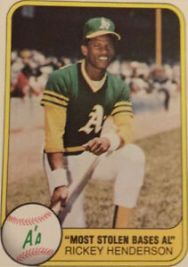 1981 Fleer Rickey Henderson 351 Baseball Card