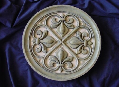 Round 16 in Fleur De Lis Concrete Cement Stepping Stone Mold 1095 Moldcreations