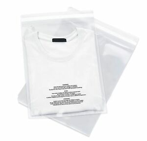 200 8x10 1.5 mil Self Seal Suffocation Warning Clear Poly Plastic Bags