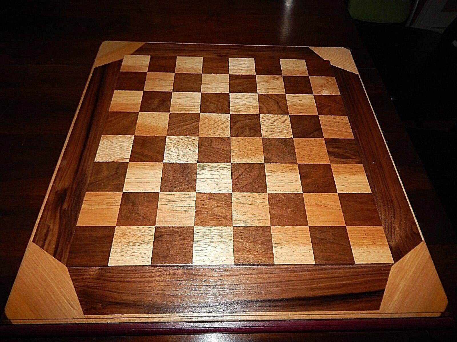 Hecho a mano tablero de ajedrez por Brandon. grandes Board con maderas exóticas. 2  Plazas.  nuevo