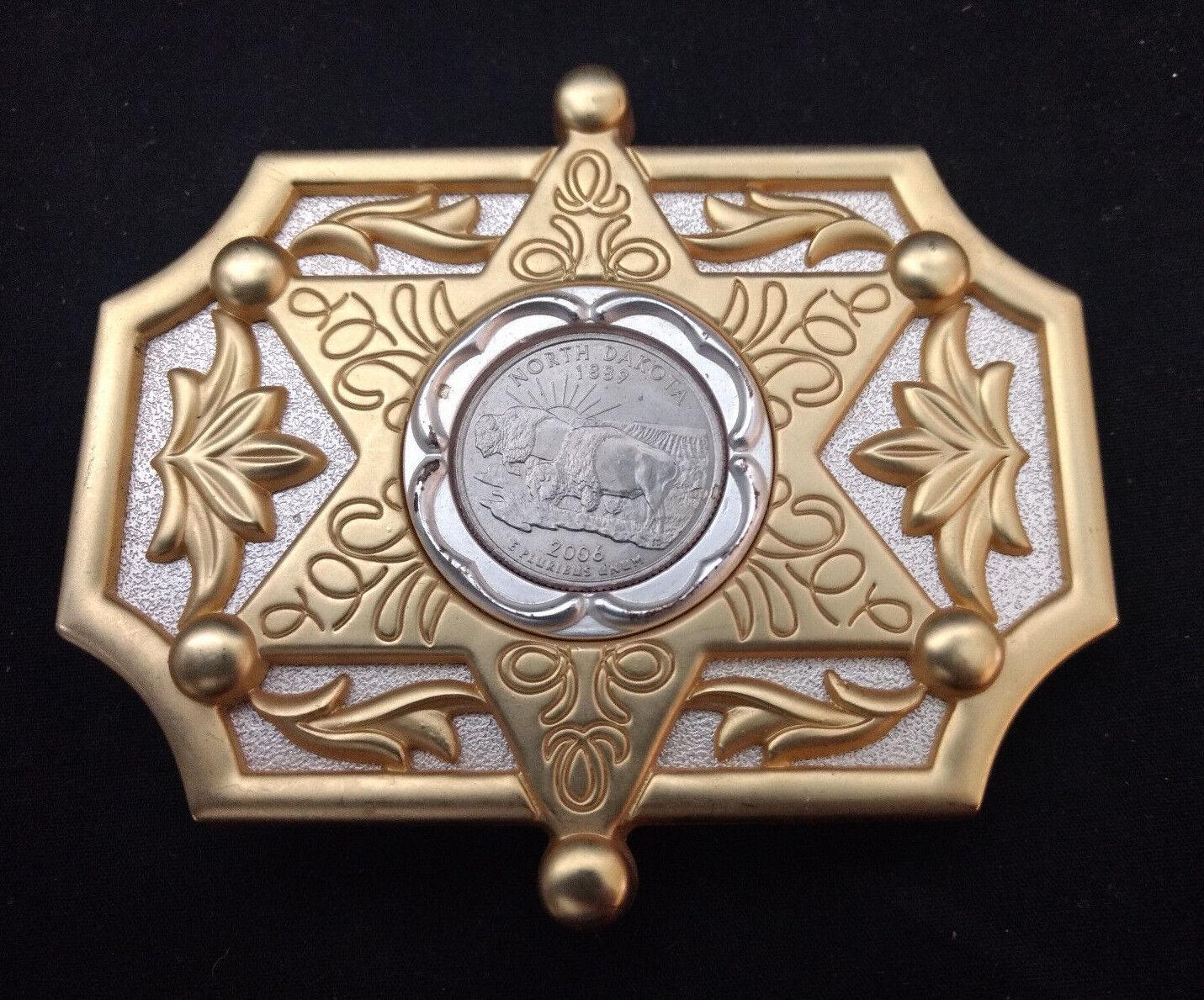 North Dakota Buffalo Coin In Belt Buckle Six Pointed Star Design 3 3/4