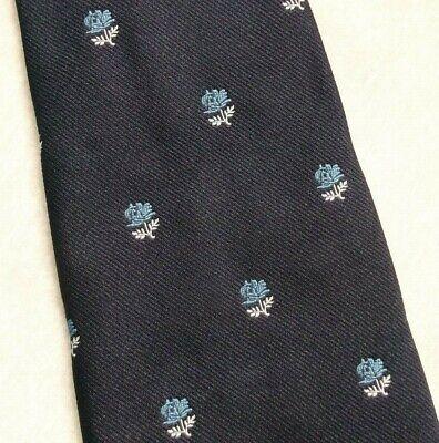 Vintage Cravatta Da Uomo Cravatta Crested Club Associazione Navy Blue Rose Crest 1980s-mostra Il Titolo Originale Né Troppo Duro Né Troppo Morbido