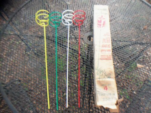 """** NOS 50/'s 60/'s Retro 25/"""" Colored Wire Drink Coaster Red White Green Yellow **"""