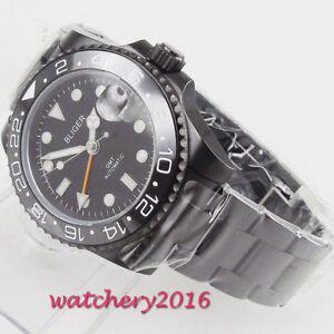 40mm-Bliger-black-dial-Date-PVD-Saphirglas-GMT-Automatisch-Movement-men-039-s-Watch