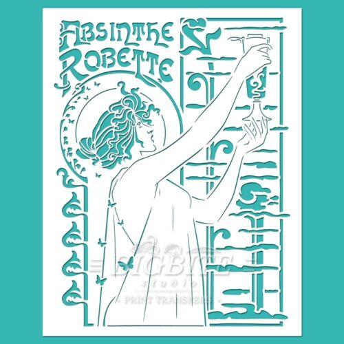 Absinthe Robette Advert Art Noveau STENCIL #076 Furniture Print Transfer