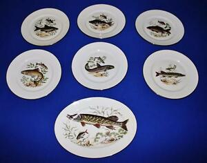 Rosenthal-AIDA-Set-of-6-Fish-Dinner-Plates-and-Oval-Platter