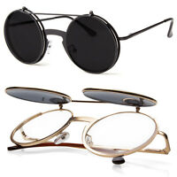 Cool Flip Up Lens Steampunk Vintage Retro Style Round Sunglasses Silver Gold
