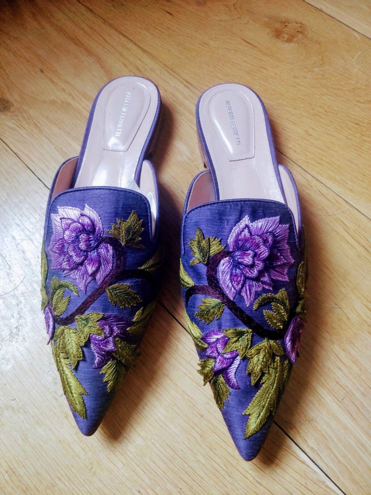 Alberta Ferretti púrpura Floral Bordado Mulas Planas tamaño 40 7