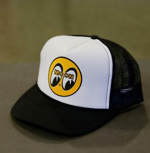 c746690ea66 Men s Mooneyes Black White Snapback Trucker Hat with Classic Logo ...