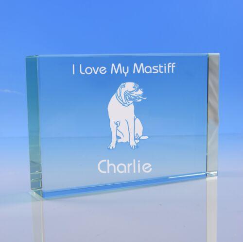 Birthday English Mastiff Dog Gift Personalised Engraved Glass Paperweight