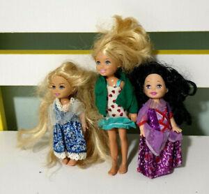Lot-of-3x-Mattel-Barbie-Kelly-Dolls-10-13cm-Tall