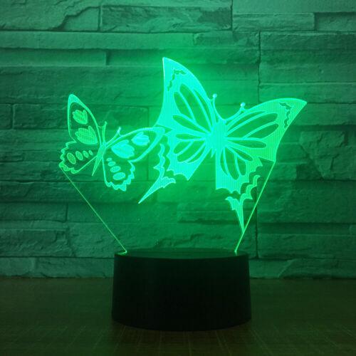 Due Farfalle 3D Lampada LED Luce Notturna tavolo acrilico touch Bambino Regali 7 COLORI