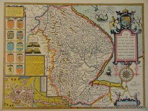 Vecchia copia di John velocità mappa del Lincolnshire Lincoln Town Plan