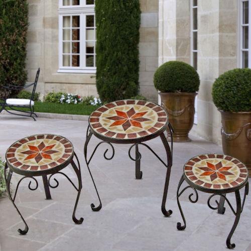 3x MOSAIK Beistelltisch Blumenständer Blumenhocker Balkontisch Metall Tisch RUND
