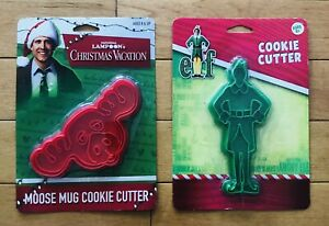 Christmas-Vacation-Plastic-Cookie-Cutters-BUDDY-the-Elf-amp-WALLY-the-Moose-NEW