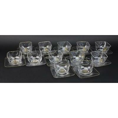 10. Set of 12 Le Rosey French Fine Crystal Glass Bowl & Under Plates QUALITY Lot 10