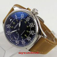 44mm parnis black dial cow leather hand winding 6497 mechanical mens watch P647B