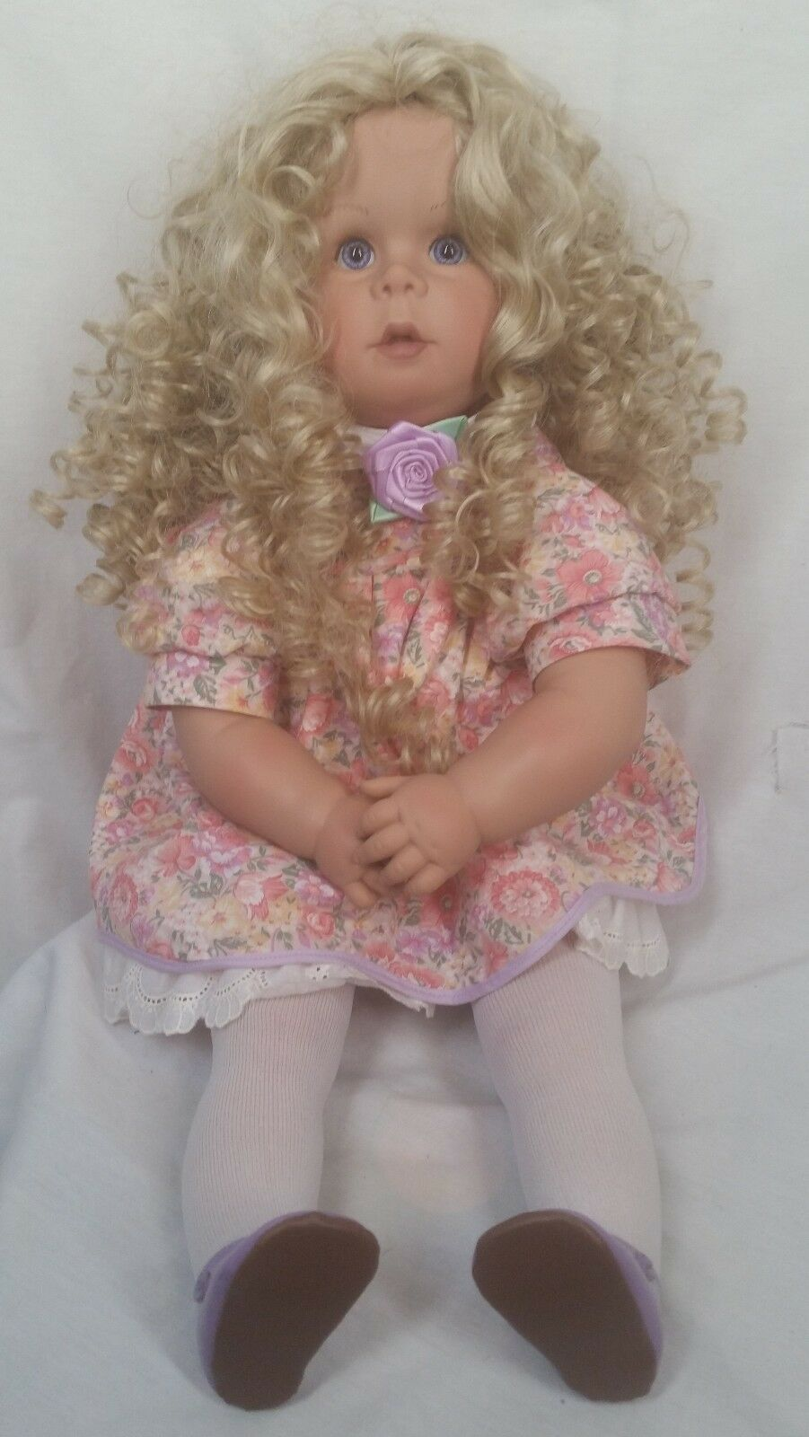 PAT SECRIST JOHANNES ZOOK 1989 SIGNED  287 22  DOLL blonde curly hair dress