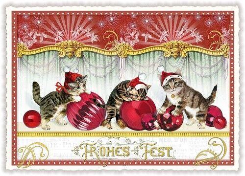 Aves lngenuos como los gatos navidad nostalgia * Edition mil hermosa * tarjeta postal a6