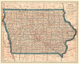 Details about 1921 Antique IOWA Map Vintage State Map of Iowa Gallery Wall  Art Home Decor 6316