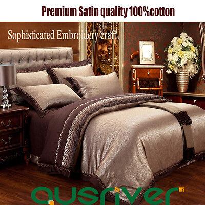 Premium 4pcs Royal Satin Double/Queen/King Size Bed Quilt/Doona/Duvet Cover Sets