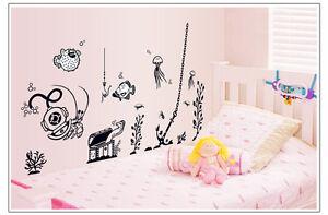 Wandtattoo-Wandsticker-Kinderzimmer-Spielzimmer-Unterwasserwelt-Fische