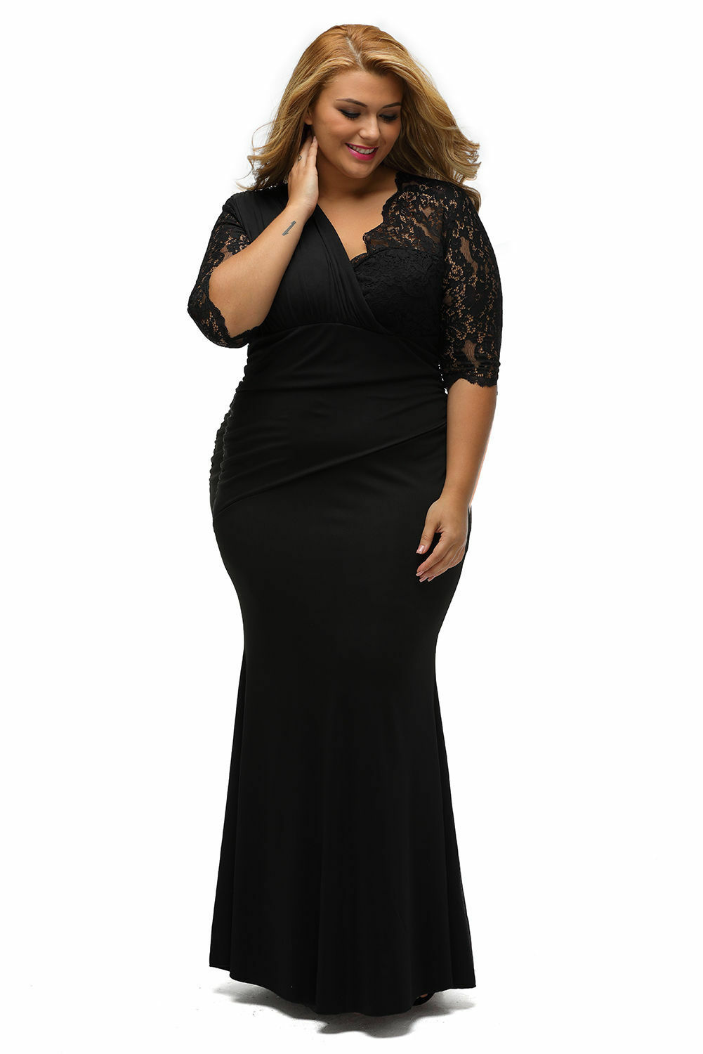e9a4c466873 ... Details about Plus Size Black Maxi Evening Dress with Lace Inserts Gown  Party Prom Dinner ...