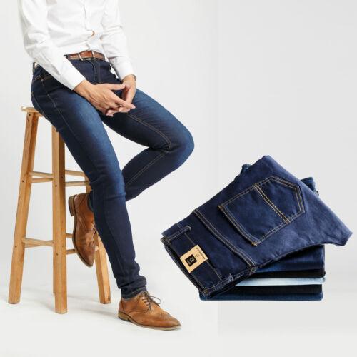 Robelli Designer Men/'s Stretch Fit Cotton Denim Skinny Jeans Stonewash 36W