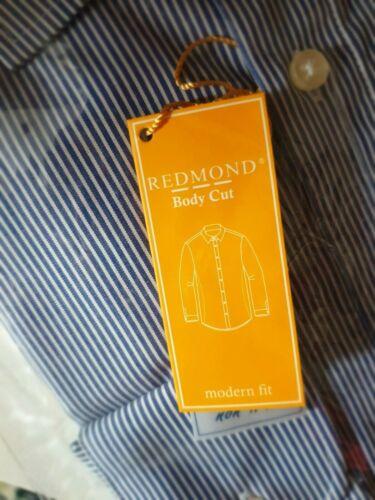 Redmond Hemd Body Cut Blau Gestreift Herren L Modern Fit