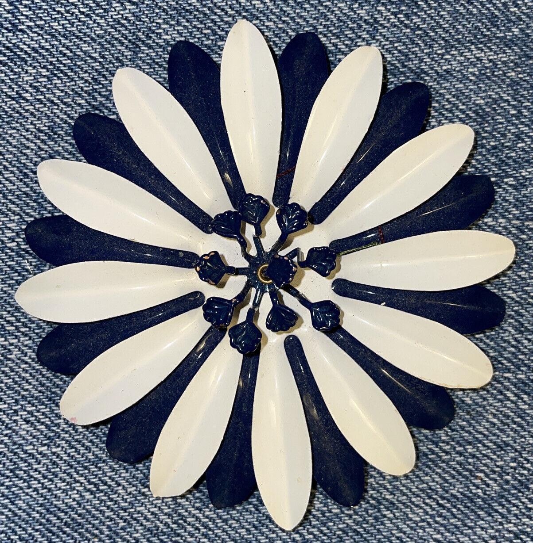Vintage Art Deco Nouveau Dark Blue White Enamel W… - image 1