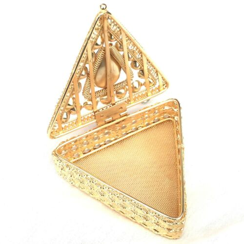 Metal Gift Box Gold Triangle Gems Jewellery Ring Necklace Box Present 9x6x3cm