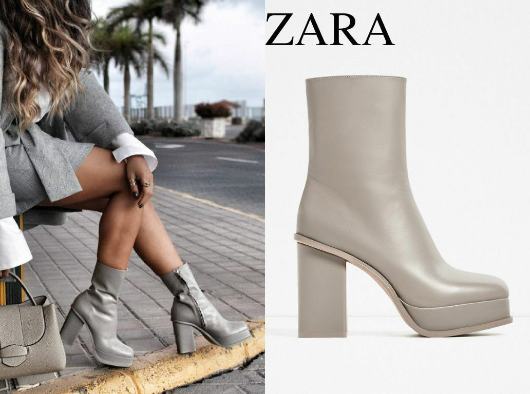 Rare_NWT 139 ZARA AW16 Grau LEATHER ANKLE BOOTS WITH LINED PLATFORM 5112/101