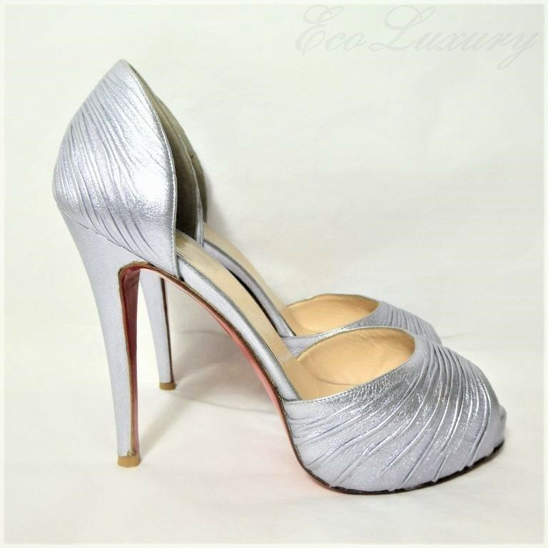 Christian LOUBOUTIN LOUBOUTIN LOUBOUTIN D'Orsay Turbella 120 Silver Ruched Leather 37.5 Peep Pumps 592405