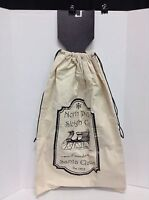 Ivory Canvas Country Rustic Christmas Gift Storage Carry Tote Bag Cinch Sack