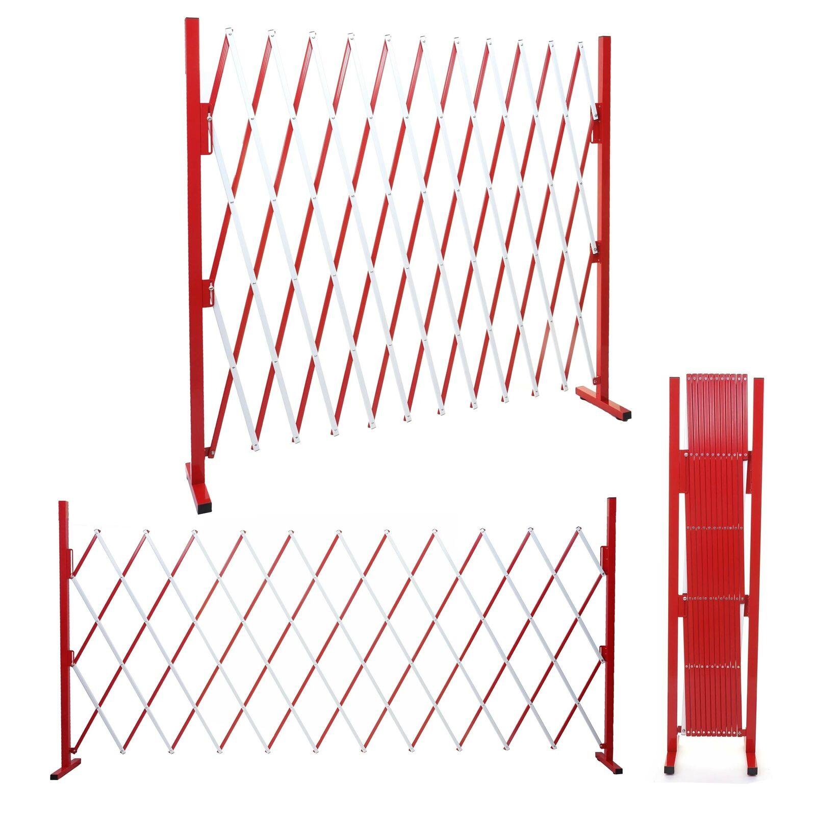 Absperrgitter HWC-B34, ausziehbar, Alu rot-weiß, Höhe 153cm, Breite 36-300cm